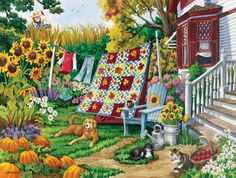 SunsOut Country Autumn Puzzle Art and Craft Product for sale online Sunsout Puzzles, Puzzle Art, Country Scenes, Country Art, Naive Art, Oeuvre D'art, 500 Piece Jigsaw Puzzles, Vintage Art, Folk Art