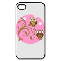 Cute Owls couple - Black Custom iPhone 4/4S Case