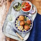 Try the Air-Fried Arancini with Grilled Red Pepper Sauce Recipe on williams-sonoma.com/
