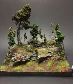 Andy shows how creating scenic terrain is easy and can look really cool for your display bases and diorama settings. Warhammer Terrain, Warhammer 40k, Bonsai Forest, Miniature Bases, Landscape Model, Model Tree, Wargaming Terrain, Model Train Layouts, Model Trains