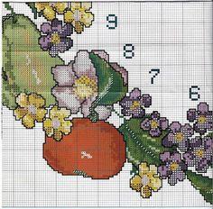 Ricami, lavori e schemi a puntocroce gratuiti: Schemi punto croce orologi da parete con rose,girasoli e frutta / owocowy zegar 4/6