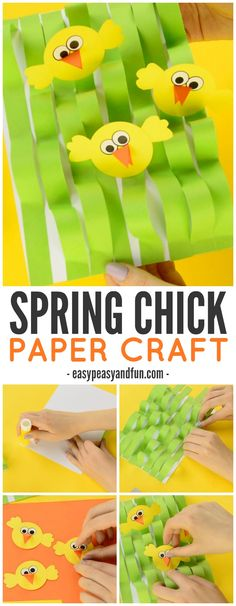 Spring Chick Paper Craft - Easter Craft Ideas - Easy Peasy and Fun Spring Arts And Crafts, Easter Arts And Crafts, Easter Projects, Paper Crafts For Kids, Crafts For Kids To Make, Fun Crafts, Art For Kids, Easter Ideas, Easter Decor