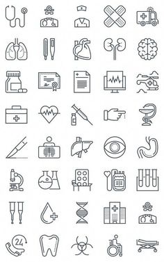 40 Hospital, health icons. Medical Infographic. $8.00 #EffectsOfGreenCoffeeBeanWeightLoss