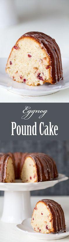 Eggnog Pound Cake ~ Crowd-pleasing holiday eggnog pound cake with eggnog, dried cranberries, brandy, nutmeg and orange zest.  ~ SimplyRecipes.com