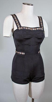 Vintage 1950s Black Swimsuit Bathing Suit with Metallic Trim