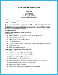 Pin by Job Resume on Job Resume Samples Pinterest Bank teller