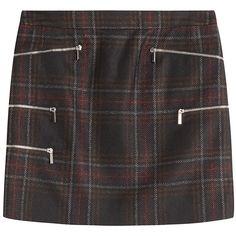 Barbara Bui Tartan Skirt (424 AUD) ❤ liked on Polyvore featuring skirts, mini skirts, black, plaid mini skirt, slim skirt, embellished skirt, barbara bui and zipper skirt