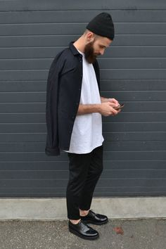 "alkarus: "" Acne studios beanie Sandro shirt AMI trousers Grenson shoes """