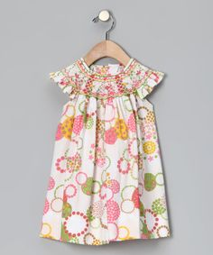 Take a look at this Pink & Green Circles Angel-Sleeve Dress - Infant, Toddler & Girls by Classic Charm: Kids' Smocking on #zulily today!