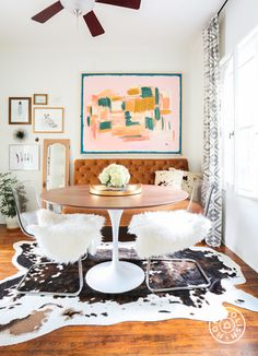 "Bohemian, Chic and Cohesive in LA - About the designer, Beth's designer Talia says, ""We kept the basic footprint and space plan she had, but changed a few key furniture pieces, added paint and styled in lots and lots of accessories."" - @Homepolish Los Angeles"