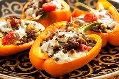 Carolines blog: gevulde paprika's met linzen en gorgonzola