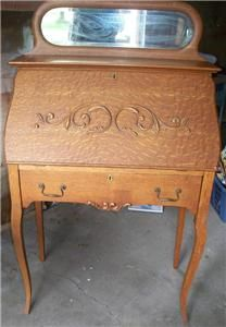Antique oak ladies drop front writing desk with mirror and for Small drop down desk