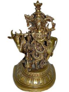 "Krishna Brass Sculpture Standing on Flower Base Figurine Fluting Spectacular Brass Sculpture Religious Brass Statue 15"" by Mogul Interior, http://www.amazon.com/dp/B00BUIHW2K/ref=cm_sw_r_pi_dp_Iw6qrb1HPZERR"