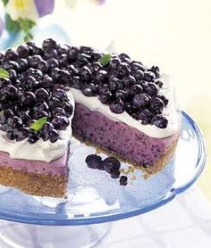 No-Bake Blueberry Cheesecake with Graham Cracker Crust   -quick subs: pre-made crust, canned blueberries, pre-made sweet whipped cream, omit sugar, just 8oz cream cheese, top with leftover whipped cream