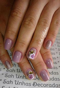 Flower Nail Designs, Colorful Nail Designs, Cute Nail Designs, Manicure And Pedicure, Gel Nails, Acrylic Nails, Nail Length, Autumn Nails, Glitter Nail Art