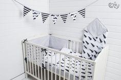 Bed Linen – NURSERY BABY BLACK & WHITE, 8 COMPONENTS – a unique product…