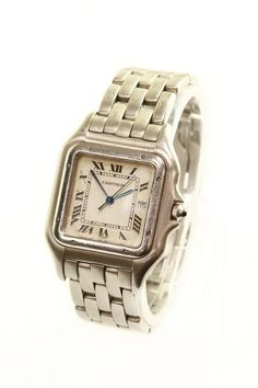 Cartier Panthere gents steel watch with quartz movement ans stainless steel bracelet. featuring beige dial with black roman numerals. Date displayed at position 3