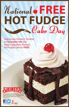 #Free Hot Fudge at #Shoney's on Dec 6th
