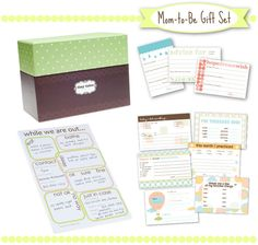 Mom-to-Be Gift Set from Tiny Tales. Great alternative to baby book. Includes babysitter notepad and baby shower advice cards. $40