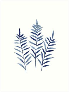 Abstract Home Garden Art Print. Something Blue Minimalist Poster. Fern Plant Print Navy Blue Botanical Wall Decor. Leaf Watercolor Painting Gift Idea. • Also buy this artwork on wall prints, apparel, phone cases, and more.