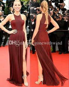 Turkish Evening Dresses Geometric Neck Thigh High Side Slit Fully Pleated Prom/Evening Gown Inspired By Blake Lively At Cannes Film Festival 2014 Unusual Evening Dresses From Gonewithwind, $132.99| Dhgate.Com