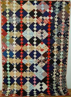 Antique Triangle Strip Quilt, Very Colorful and Rich