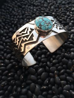 Handmade silver overlay mountain graphic cuff with turquoise. Handmade Silver, Handcrafted Jewelry, Graphic Patterns, Overlay, Cuff Bracelets, Silver Jewelry, Mountain, Turquoise, Stone