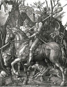 Albrecht Dürer (1471-1528), Il Cavaliere, la Morte e il Diavolo, 1513. Incisione su rame.