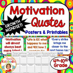 This Character Traits Quotes product focuses on MOTIVATION (perfect for growth mindset) and includes 10 character traits quotes posters and 10 printables that correspond to each quote about motivation. Take your character education program to the next level with this easy-to-use, teacher friendly and student approved character education quotes product!