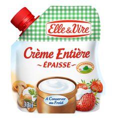 CRÈME ÉPAISSE ENTÈRE 30% M.G. Idéale dégustée en accompagnement des desserts. Elle est parfaite pour accompagner tartes Tatin, fruits rouges et fromages blancs. C'est au cœur du Pays Normand qu'Elle & Vire a élaboré cette crème en poches, disponible au rayon frais. #crème #elleetvire #recette #food #cuisine #crèmeépaisse #tatin #tartetatin #fruitsrouges #fromageblanc #rayonfrais