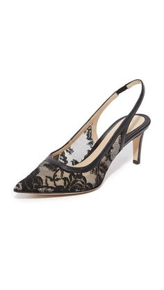 MONIQUE LHUILLIER Poppy Lace Kitty Heels. #moniquelhuillier #shoes #heels