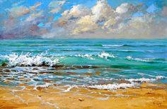 "Sea - Palette Knife Original Oil Painting  by Dmitry Spiros. Size: 24""x32""  (60 x 80cm)"