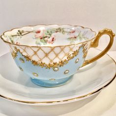 Vintage German and English Mismatched Tea Cup and Saucer