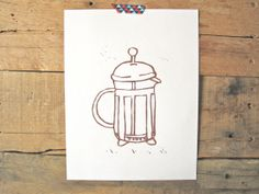 Hey, I found this really awesome Etsy listing at https://www.etsy.com/listing/160342950/french-press-linocut-print-coffee-print