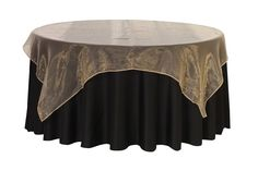 72 inch Square Organza Table Overlays Champagne
