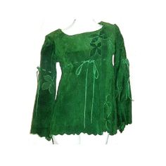 Vintage 1960s Green Leather Over Blouse With Floral Appliques