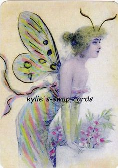 SD28 LOVELY LADY swap playing cards MINT COND colourful fairy butterfly girl