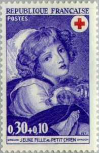 ◇France   1971    Greuze (1725-1805) - Girl with Small Dog