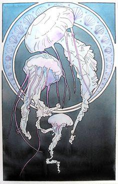 Trendy Art Nouveau Tattoo Animal Little Mermaids 16 Ideas Art And Illustration, Illustrations, Art Nouveau Tattoo, Kunst Inspo, Art Inspo, Alphonse Mucha, Jellyfish Art, Jellyfish Tattoo, Kunst Tattoos