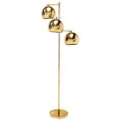 Mid Century Modern Brass Globe Shades Floor Lamp