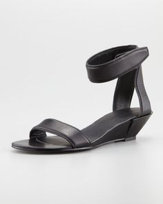 Vika Low-Wedge Leather Sandal by Alexander Wang at Neiman Marcus.
