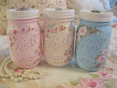 These are Hand Painted Mason Jars!!!  Iwould have to decoupage them...