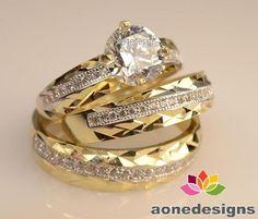 14K Yellow Gold Fn Round Cut Diamond Wedding His& Hers Anniversary Trio Ring Set #aonedesigns #WeddingEngagementAnniversaryParty