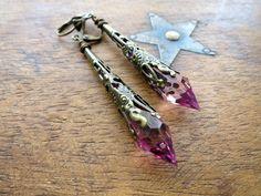 Rose Pink Earrings Art Nouveau Style Filigree Jewelry Pointed Earrings Art Deco Style Elven Earrings Victorian Earrings Steampunk Jewellery by LovesVintage43 on Etsy