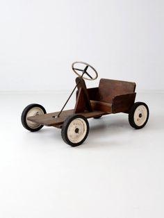 vintage toy riding car, wooden push car