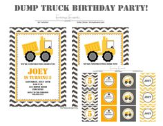 Dump Truck Birthday Party Collection ON SALE by EmmysEvents