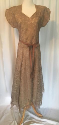 1960's Tan Sheer Lace Tea Length Fully Lined V Neck Dress with Split Cap Sleeves by tiffanyroseantiques on Etsy