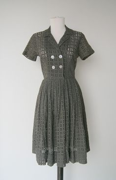 Vintage Charcoal Gray Cut out Dress with Circle Skirt by hipandvintage on Etsy