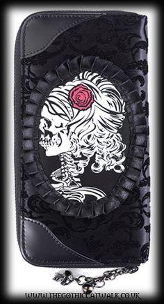 Gothic Steampunk Flocked Velvet Wallet - Skeleton Lady Womens Purses, Gant,  Tim Burton, 8388d5e5536