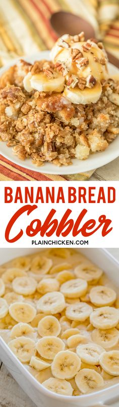 Banana Bread Cobbler - this is amazing! SOOO much better than regular banana bread. The streusel to Just Desserts, Delicious Desserts, Dessert Recipes, Yummy Food, Desserts With Bananas, Recipes Dinner, Healthy Desserts, Fall Recipes, Appetizer Recipes